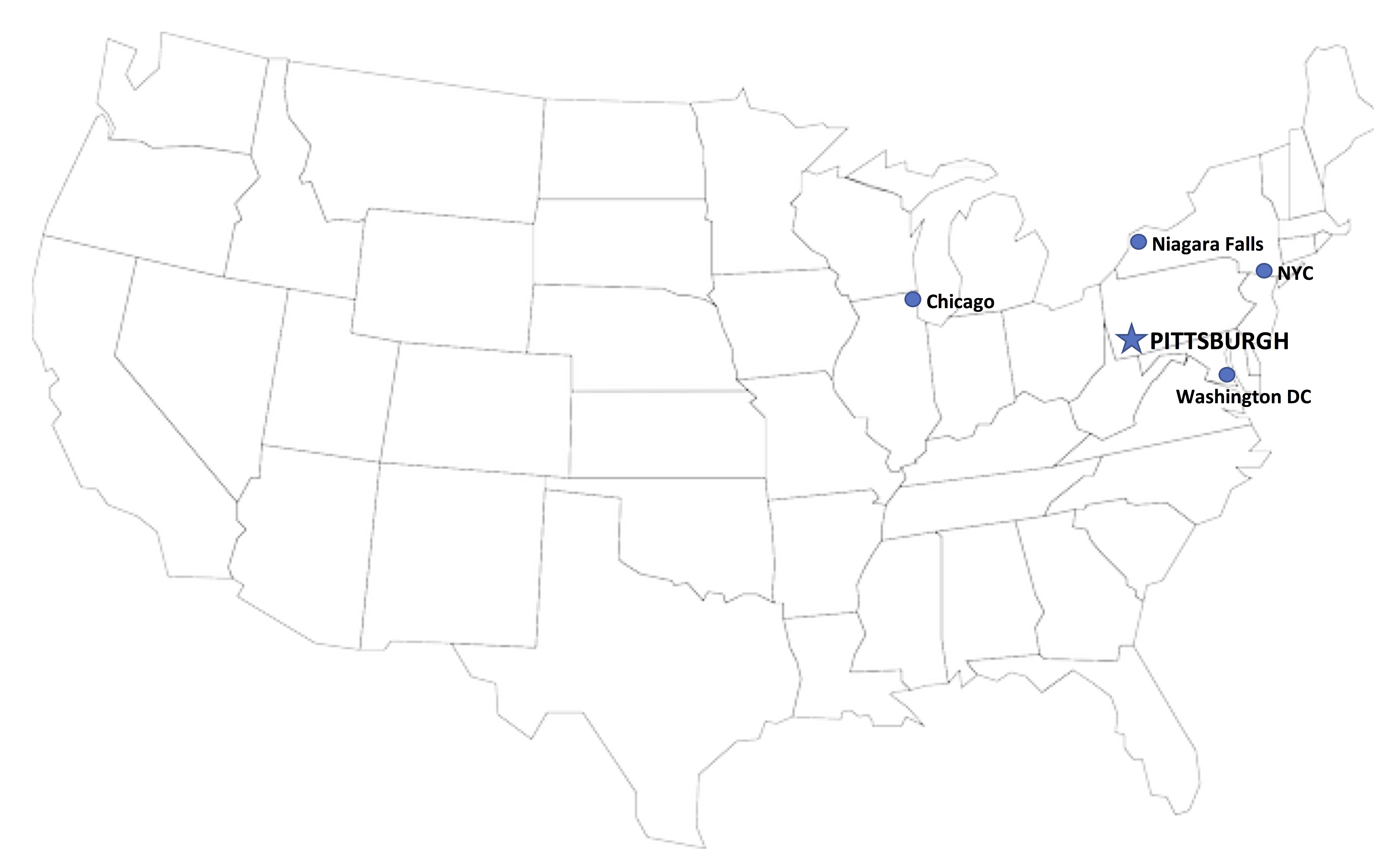 map showing the location of Pittsburgh in the USA
